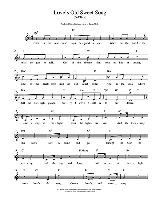 Love's Old Sweet Song sheet music