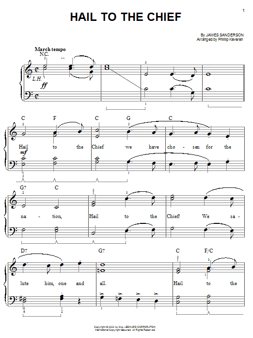 Hail To The Chief sheet music