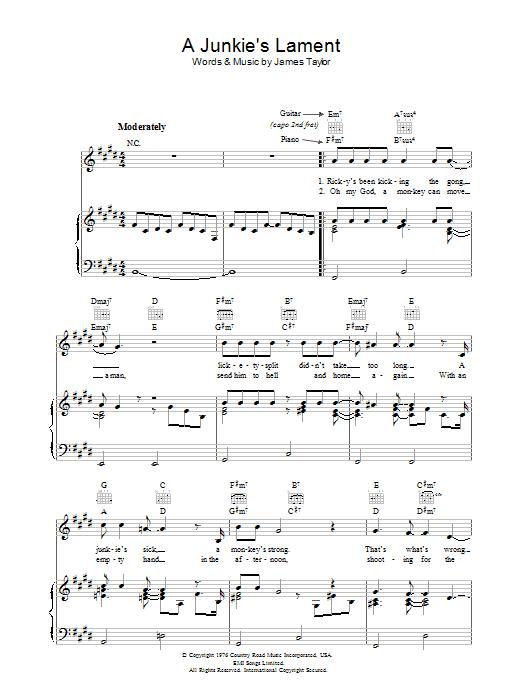 A Junkie's Lament sheet music