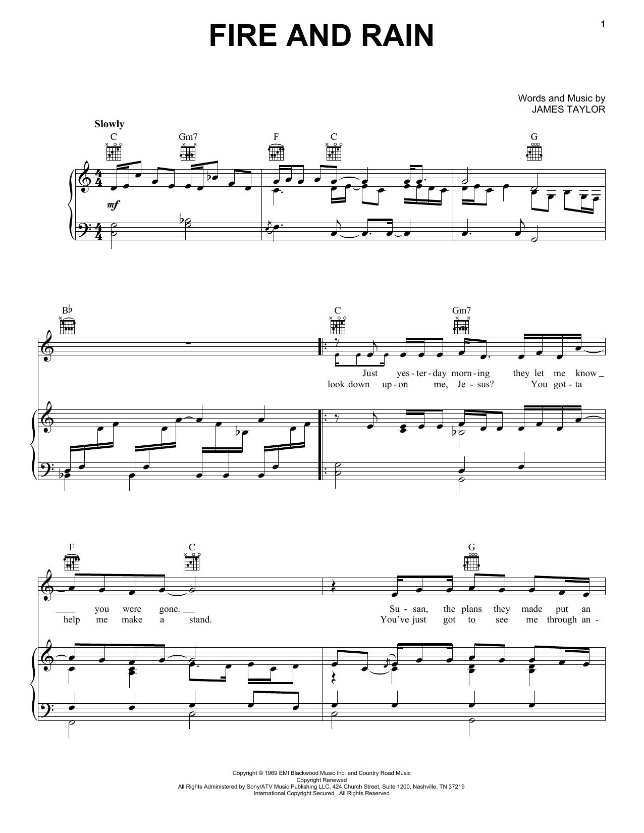 Fire And Rain sheet music