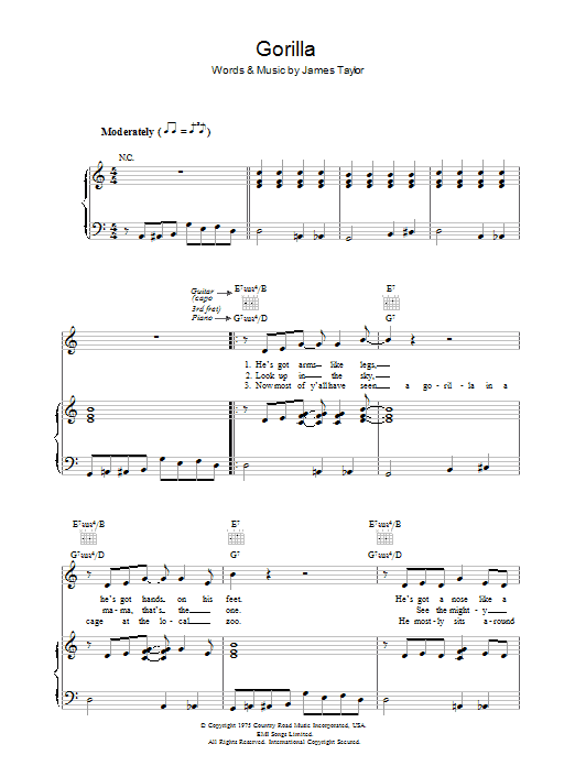 Gorilla sheet music