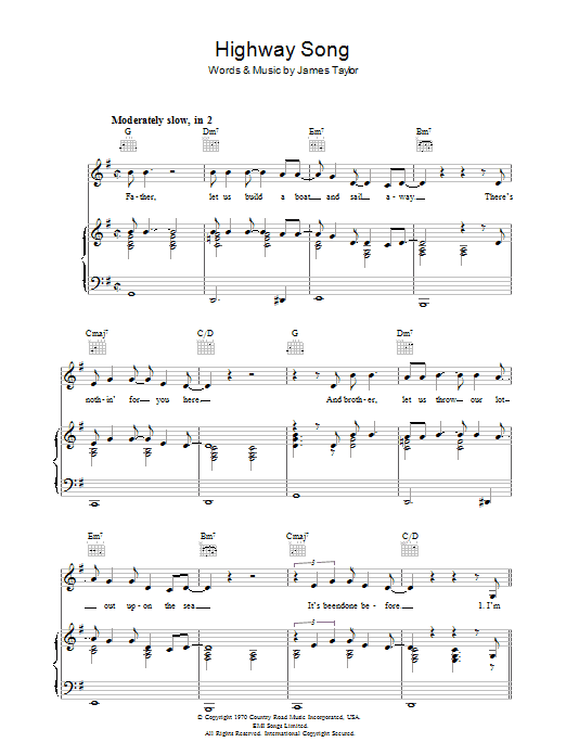 Highway Song sheet music