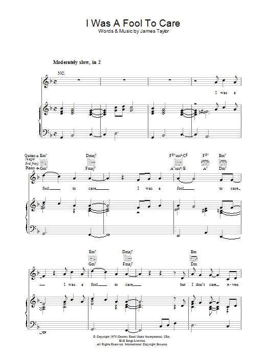 I Was A Fool To Care sheet music