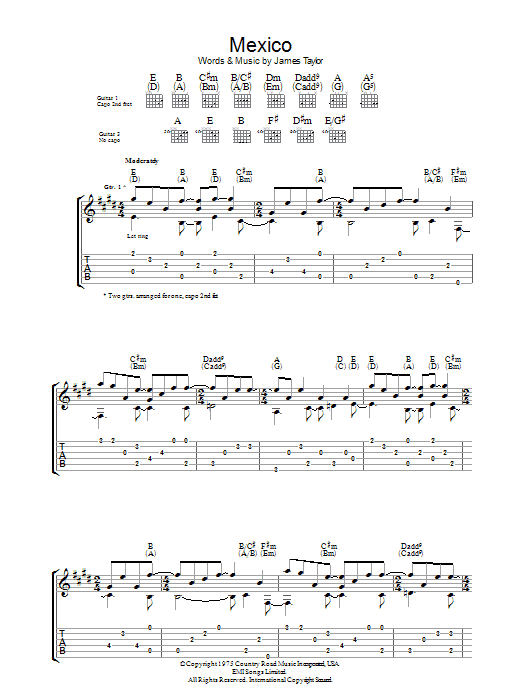 Mexico sheet music