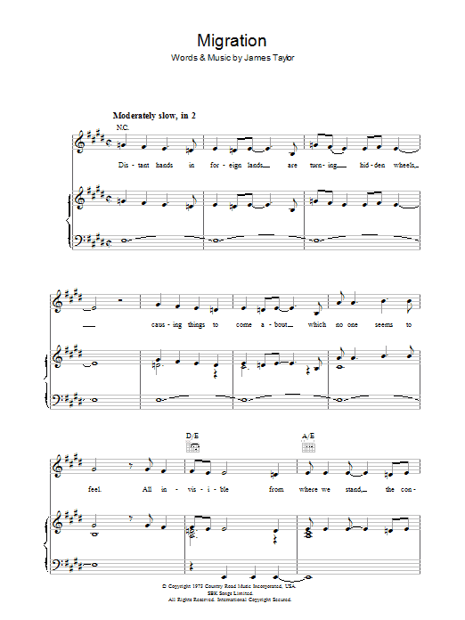Migration sheet music