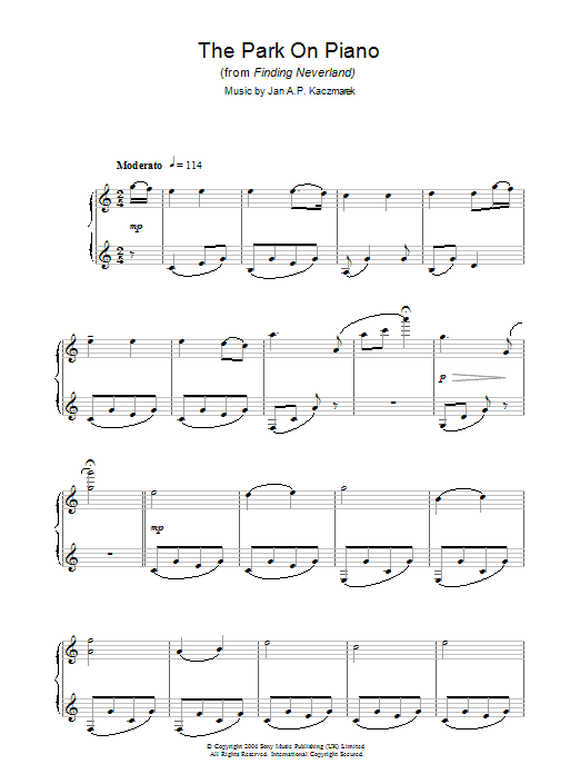The Park On Piano (from Finding Neverland) sheet music