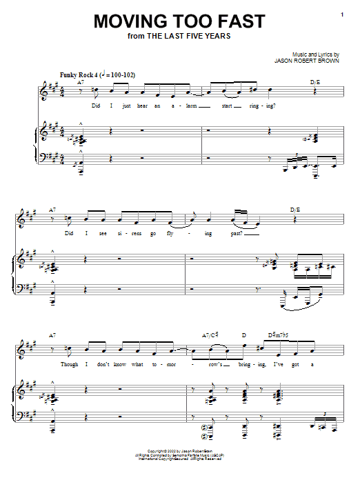 Moving Too Fast (from The Last 5 Years) sheet music