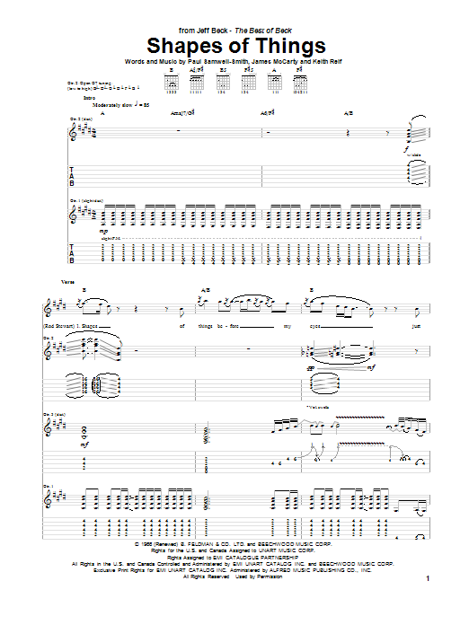 Shapes Of Things sheet music