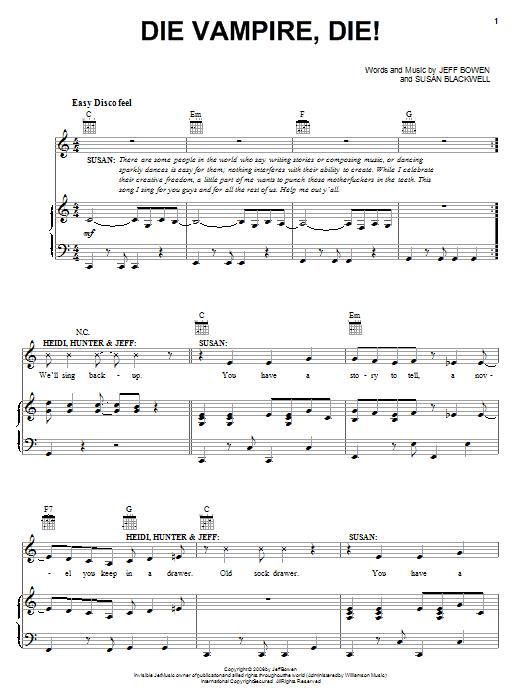 Die Vampire, Die! sheet music