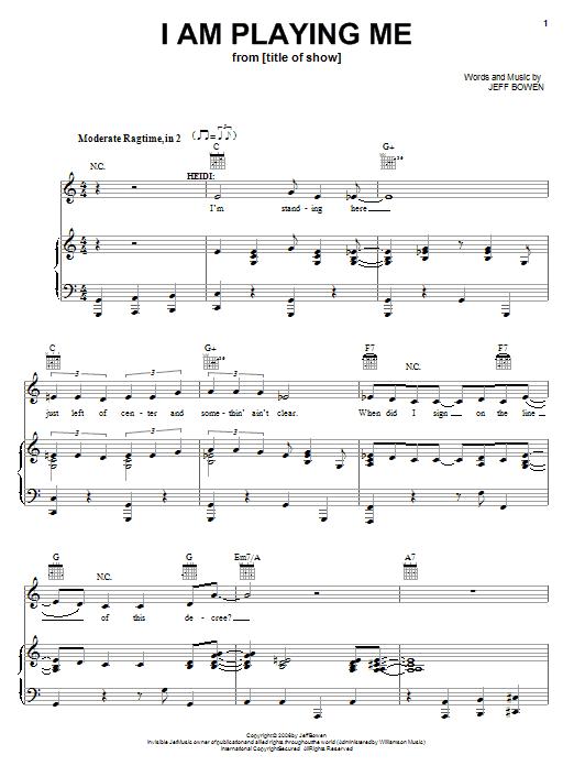 I Am Playing Me sheet music