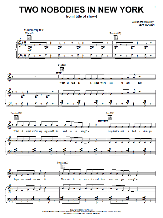 Two Nobodies In New York sheet music