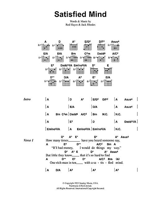 Satisfied Mind sheet music