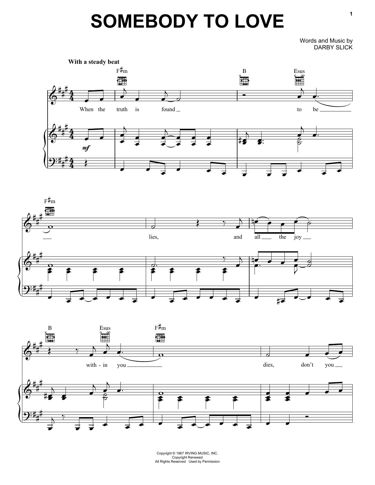 Somebody To Love sheet music