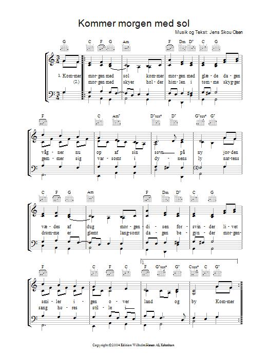 Kommer Morgen Med Sol sheet music