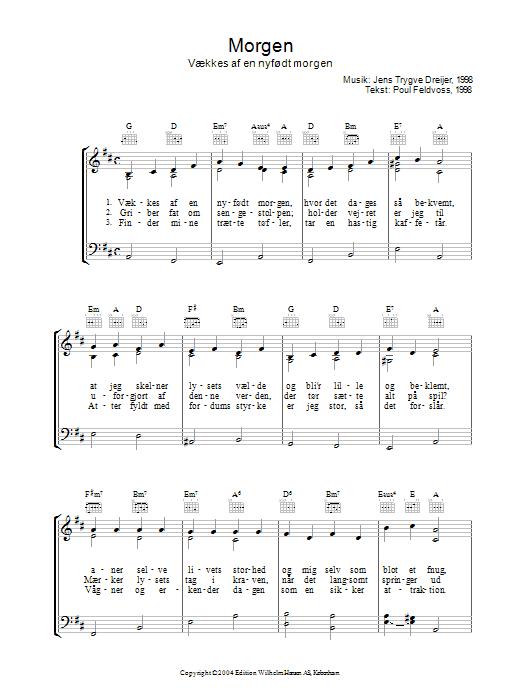Morgen Vækkes Af En Nyfødt Morgen sheet music