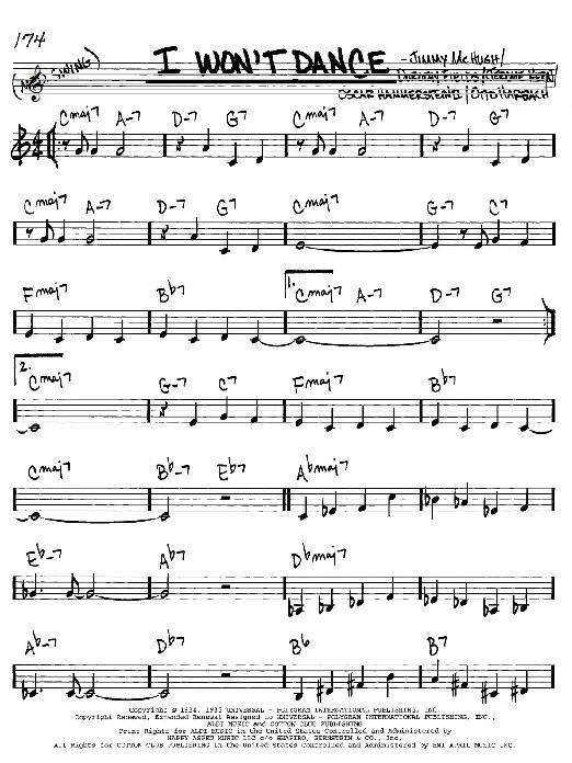 I Won't Dance sheet music