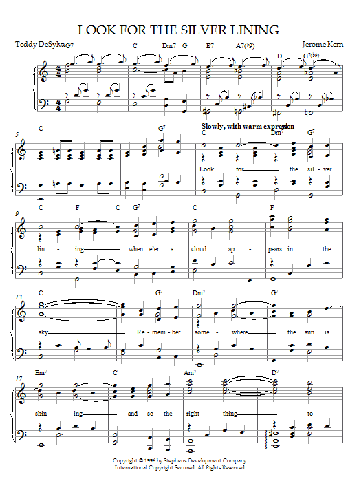 Look For The Silver Lining sheet music