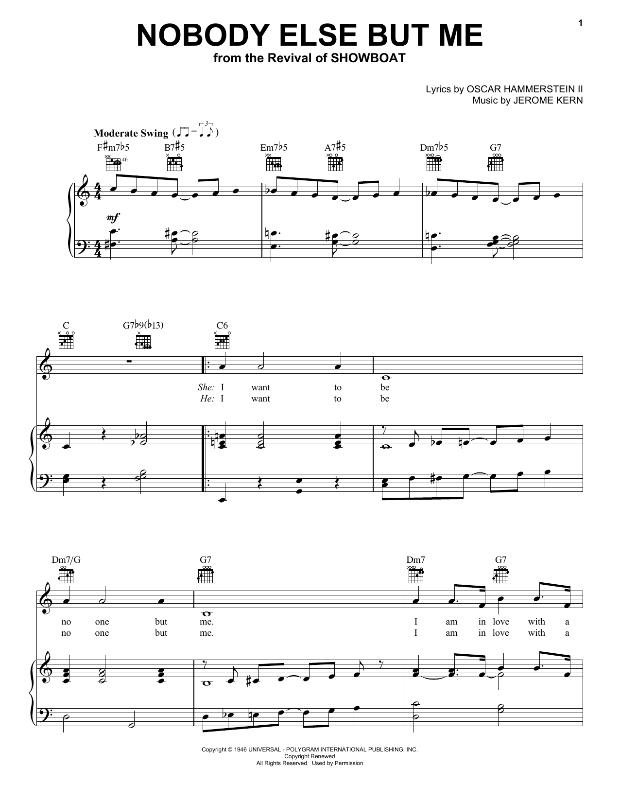 Jerome Kern 'Nobody Else But Me' Sheet Music Notes, Chords   Download  Printable Piano, Vocal & Guitar Right Hand Melody   SKU 15