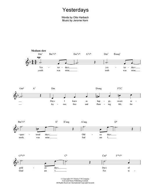 Yesterdays sheet music