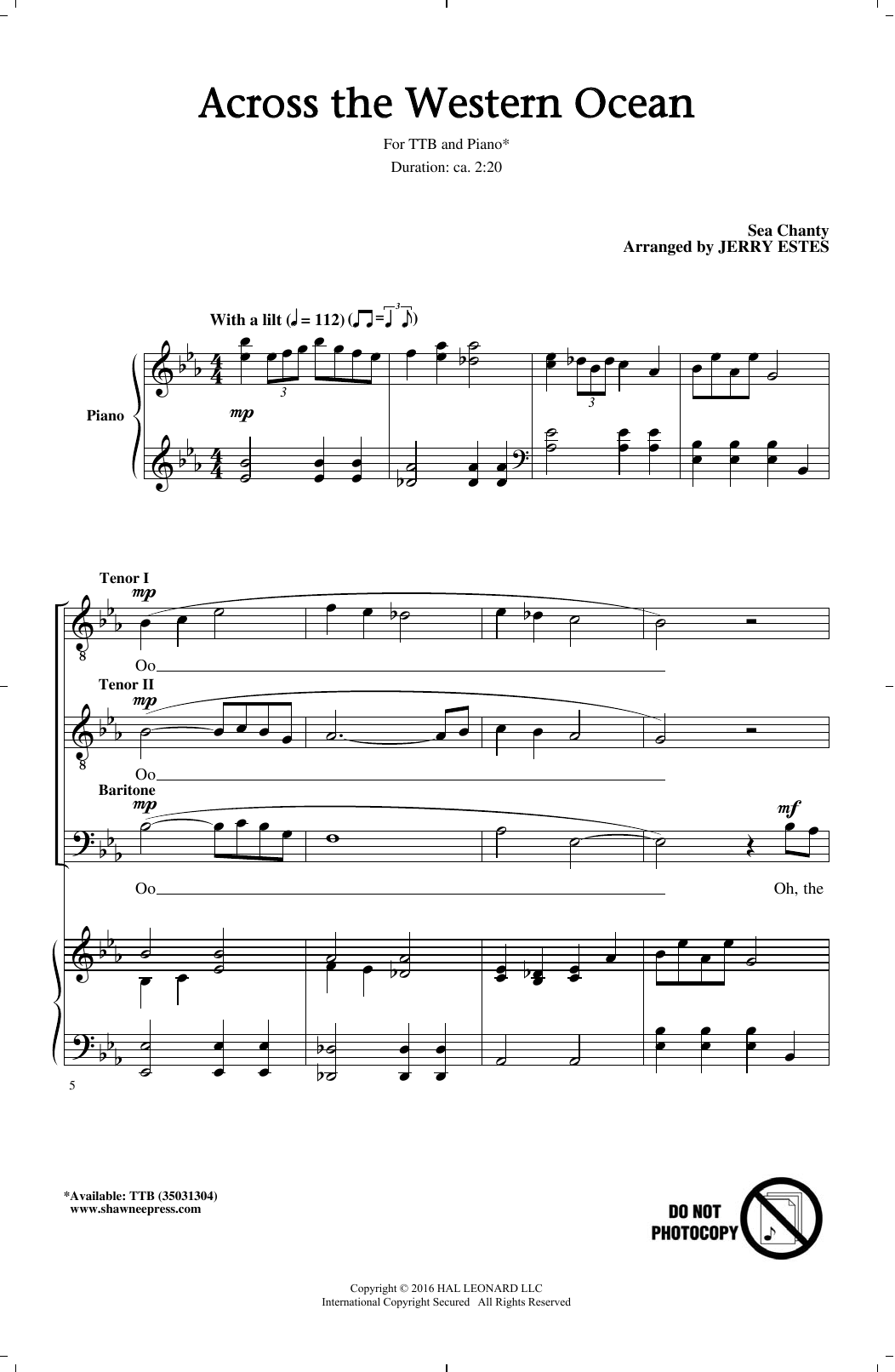 Across The Western Ocean sheet music