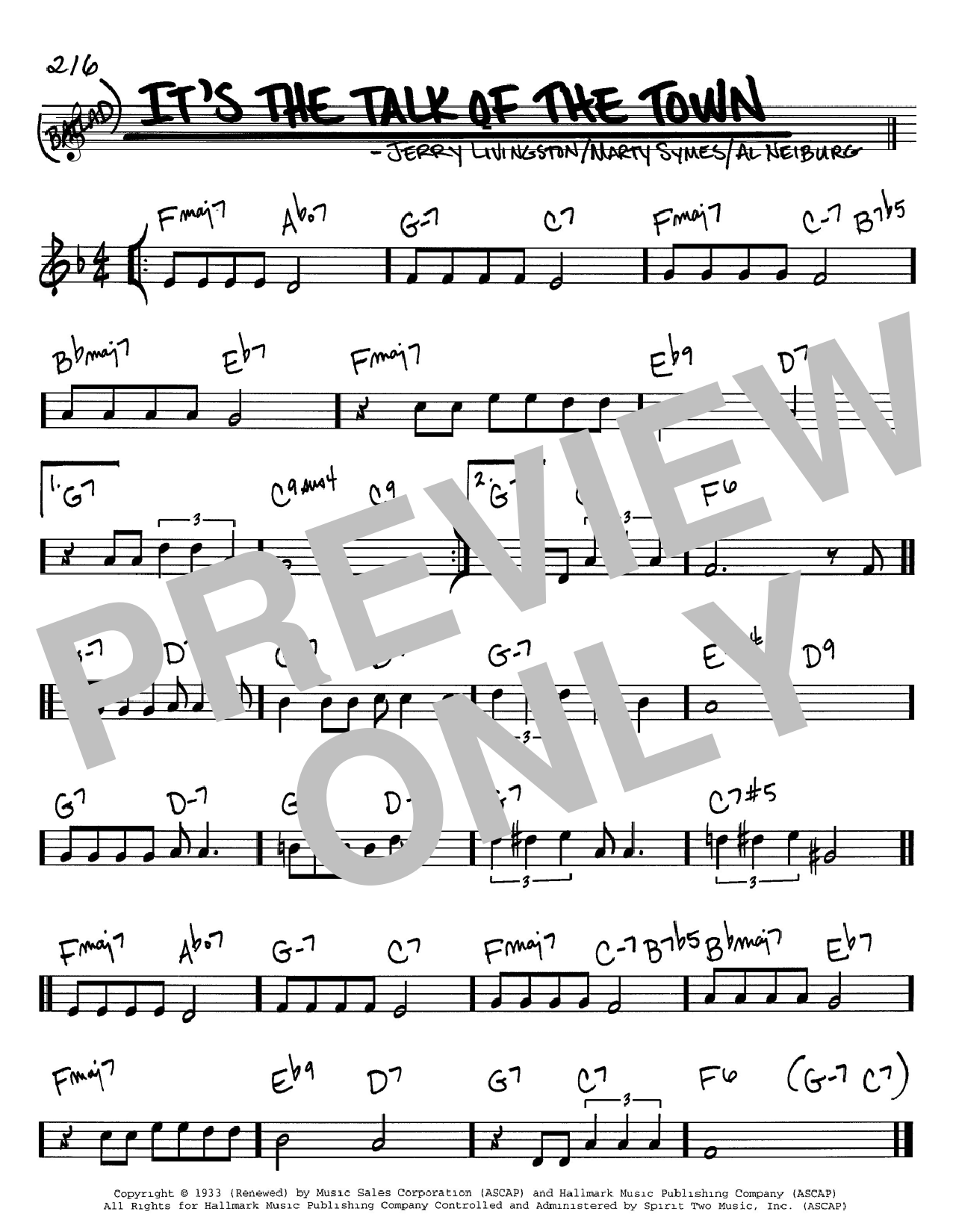 It's The Talk Of The Town sheet music