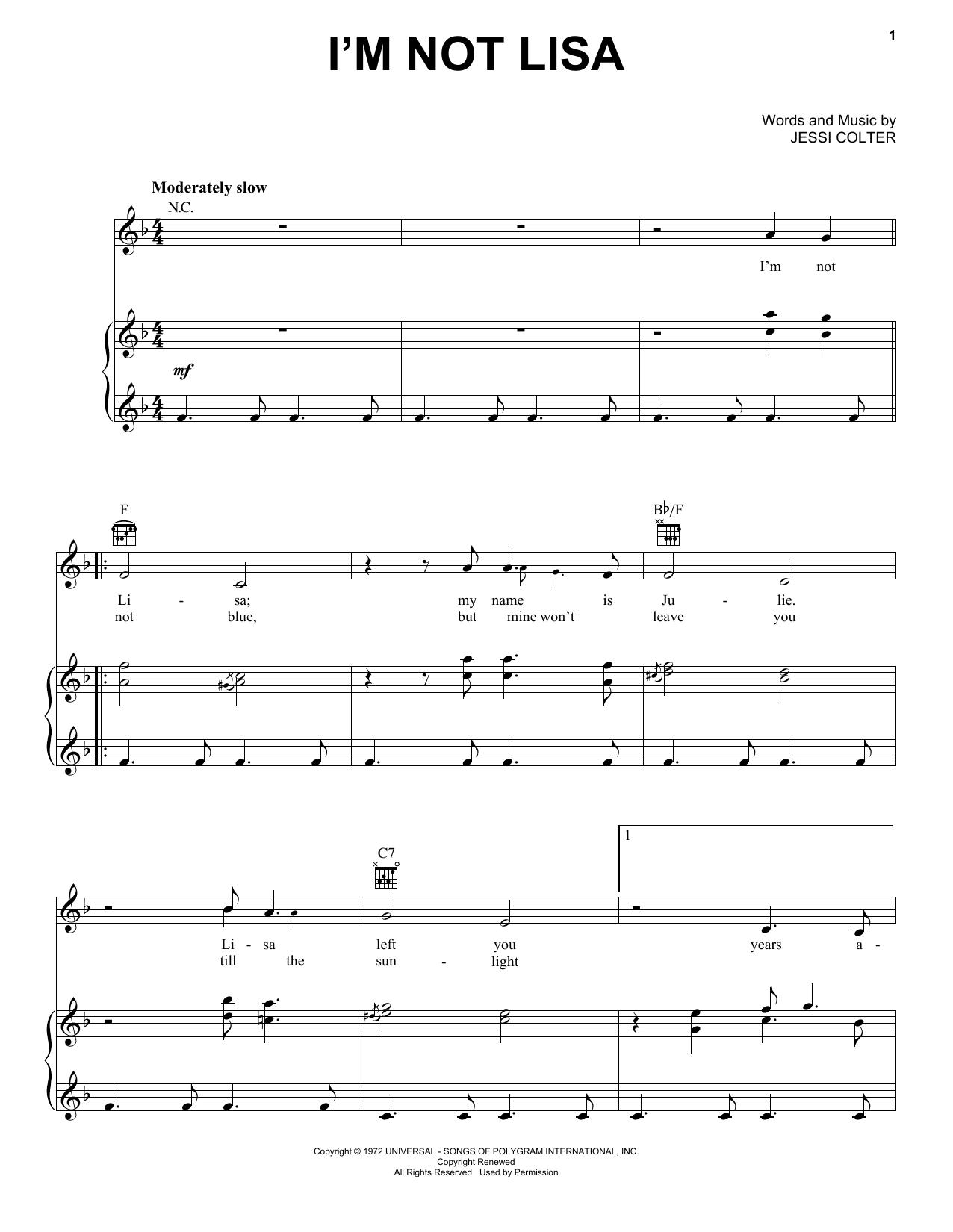 I'm Not Lisa sheet music