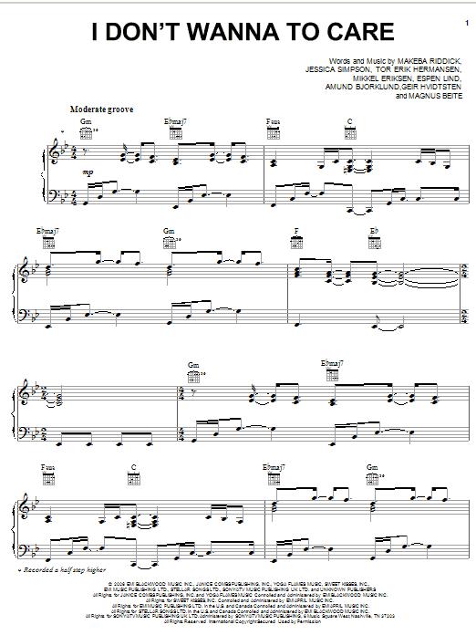 I Don't Wanna Care sheet music