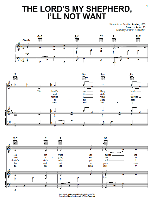 The Lord's My Shepherd, I'll Not Want sheet music