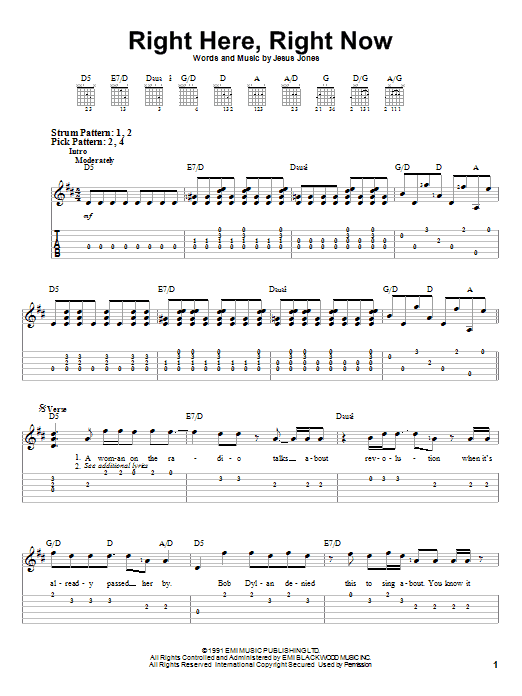 Right Here, Right Now sheet music
