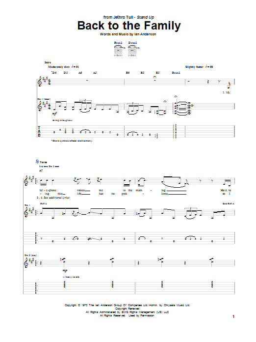 Back To The Family sheet music