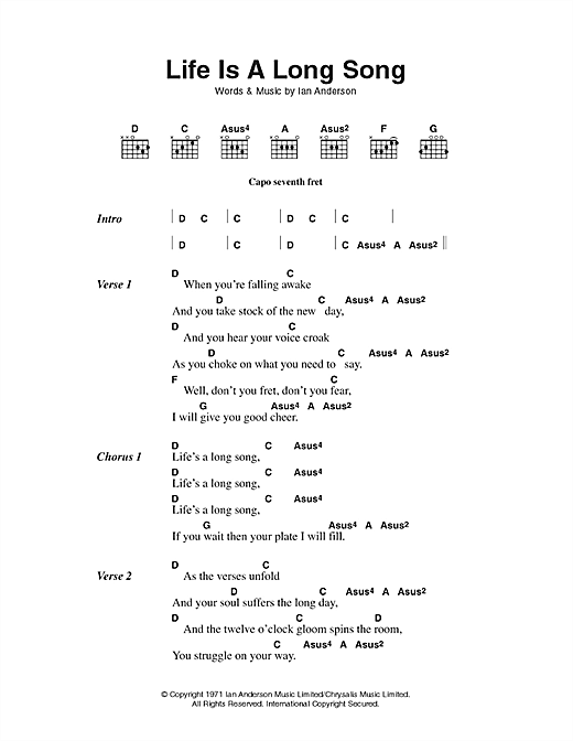 Life Is A Long Song sheet music