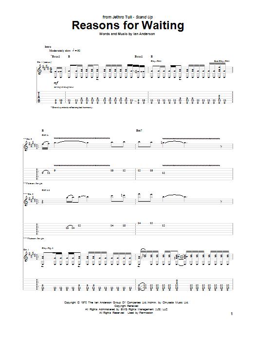 Reasons For Waiting sheet music