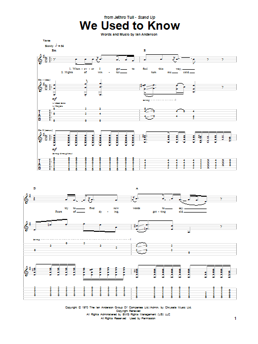 We Used To Know sheet music