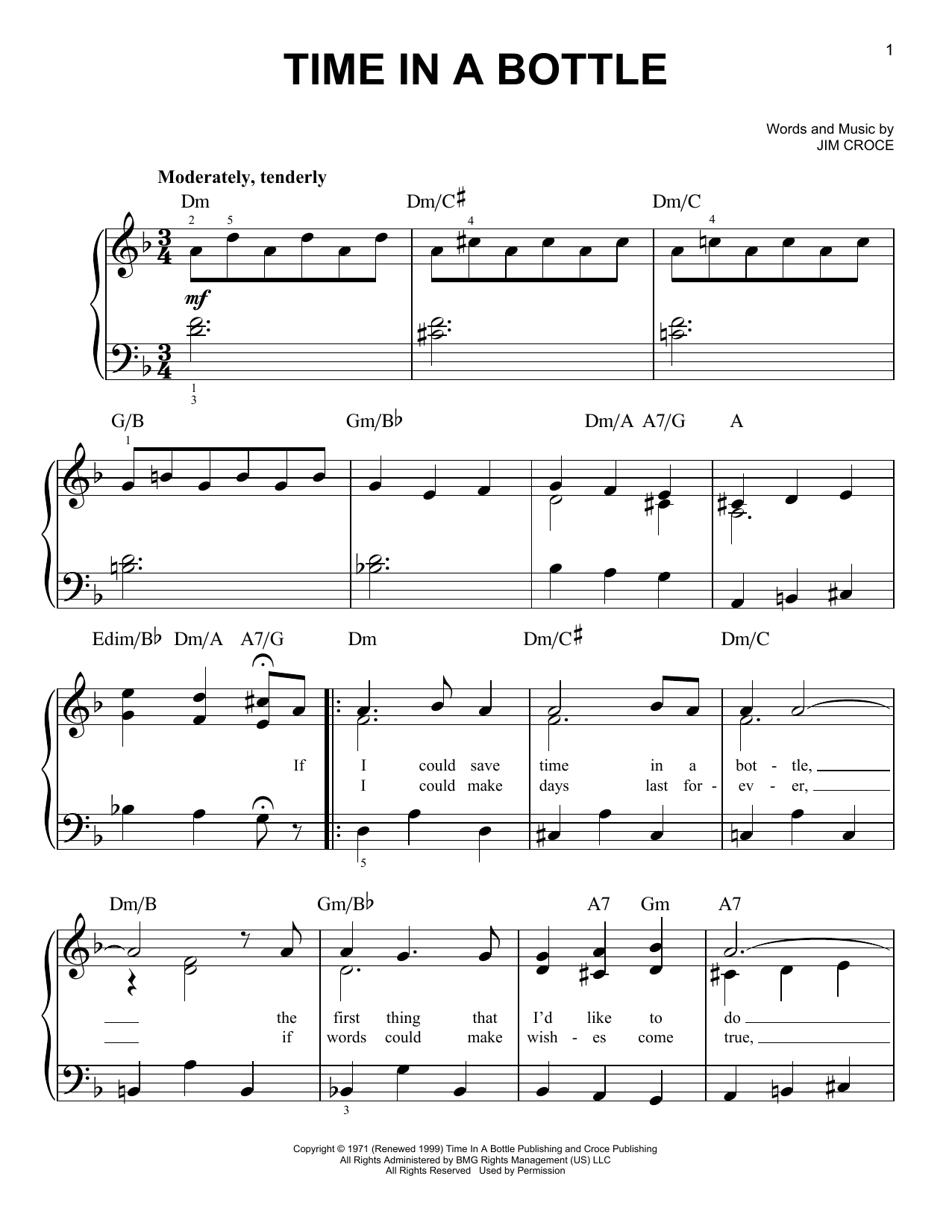 Time In A Bottle sheet music