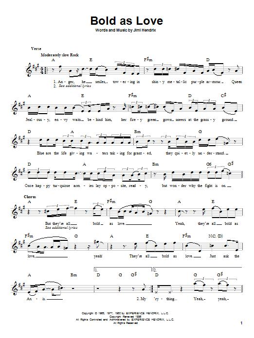 Bold As Love sheet music