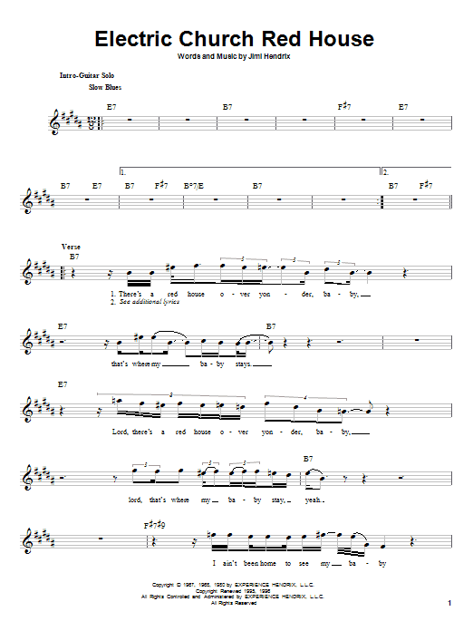 Electric Church Red House sheet music
