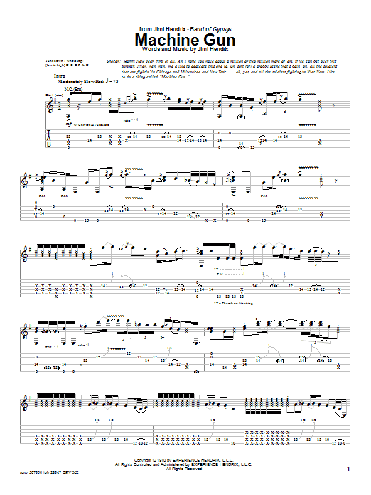 Machine Gun sheet music
