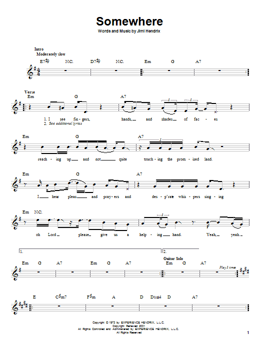 Somewhere sheet music