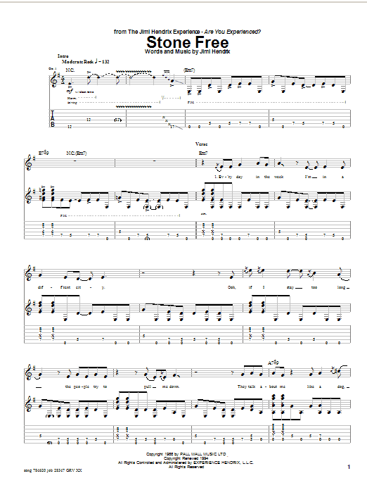 Stone Free sheet music
