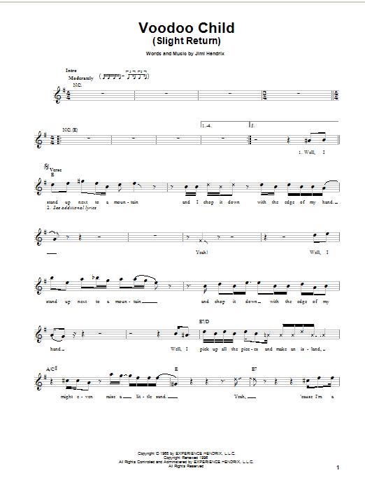 Voodoo Child (Slight Return) sheet music