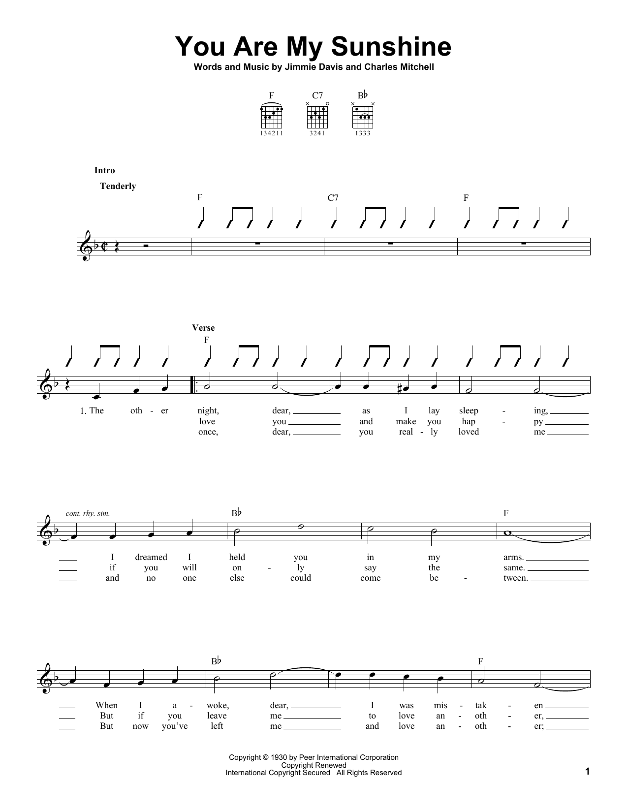 Jimmie Davis 'You Are My Sunshine' Sheet Music Notes, Chords   Download  Printable French Horn   SKU 20