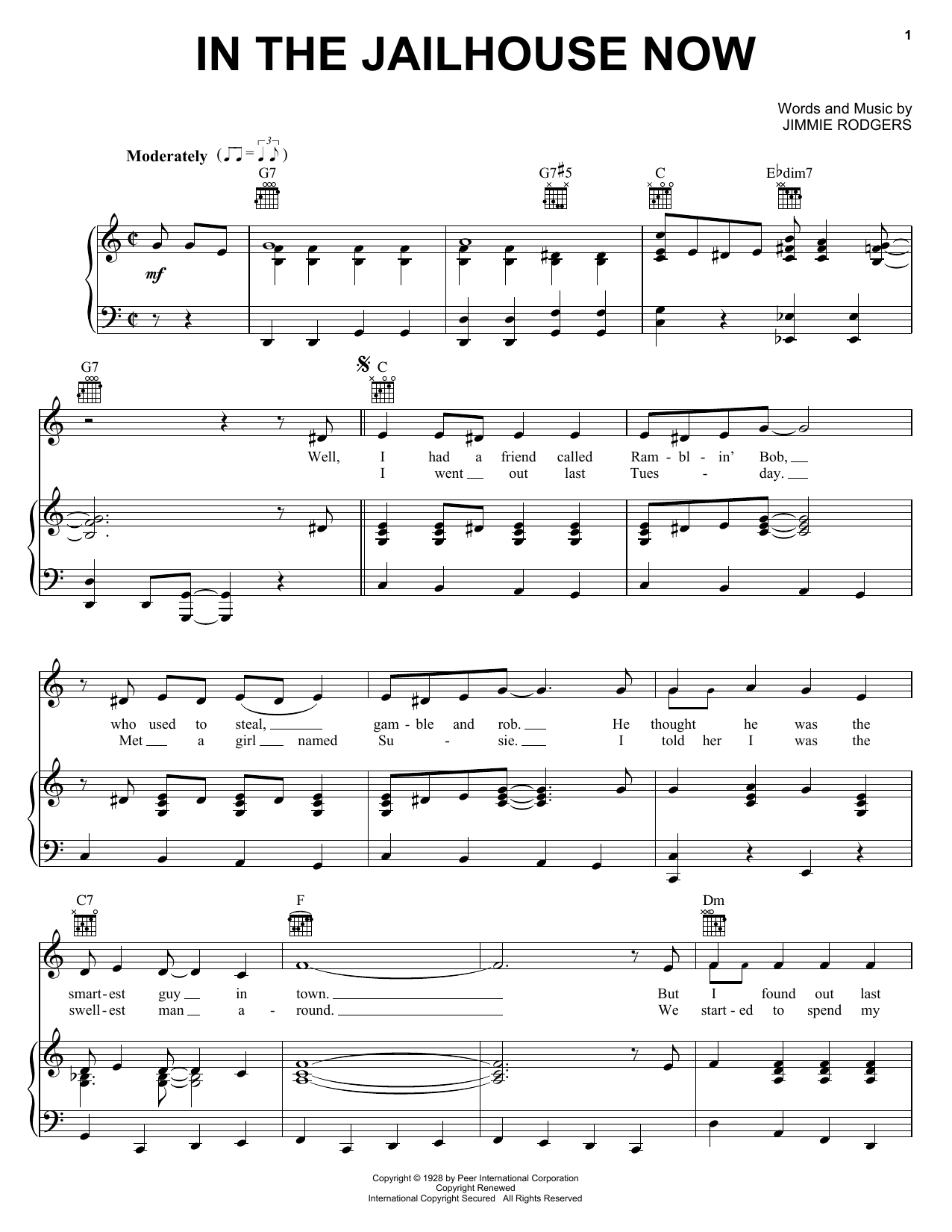 In The Jailhouse Now sheet music