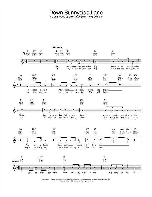 Down Sunnyside Lane sheet music