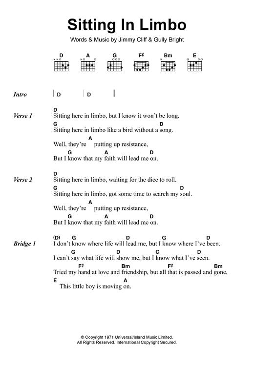 Sitting In Limbo sheet music