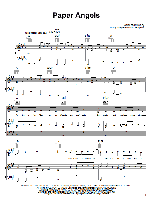 Paper Angels sheet music