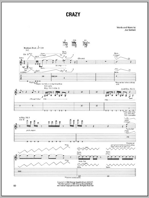Crazy sheet music