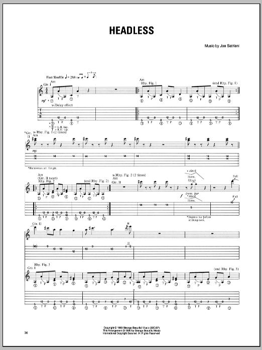 Headless sheet music