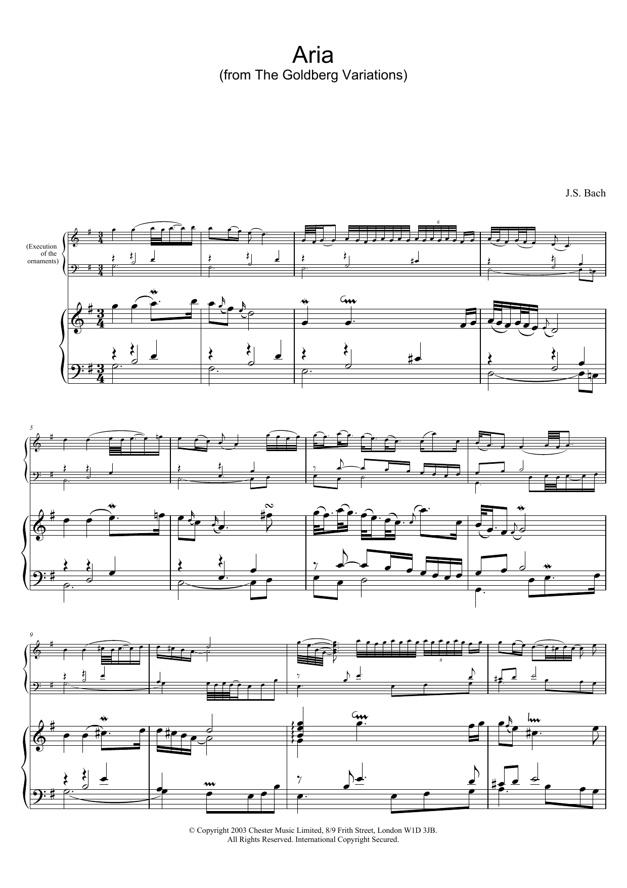 Aria (from The Goldberg Variations) sheet music