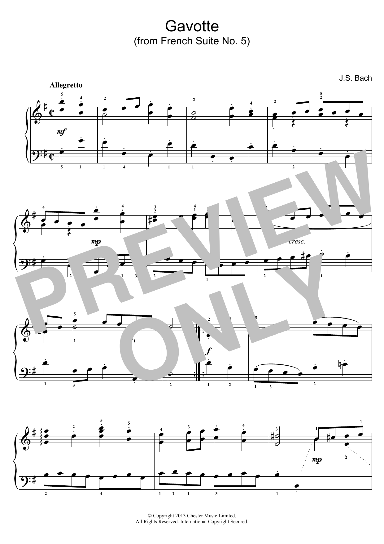Gavotte (from French Suite No. 5) sheet music