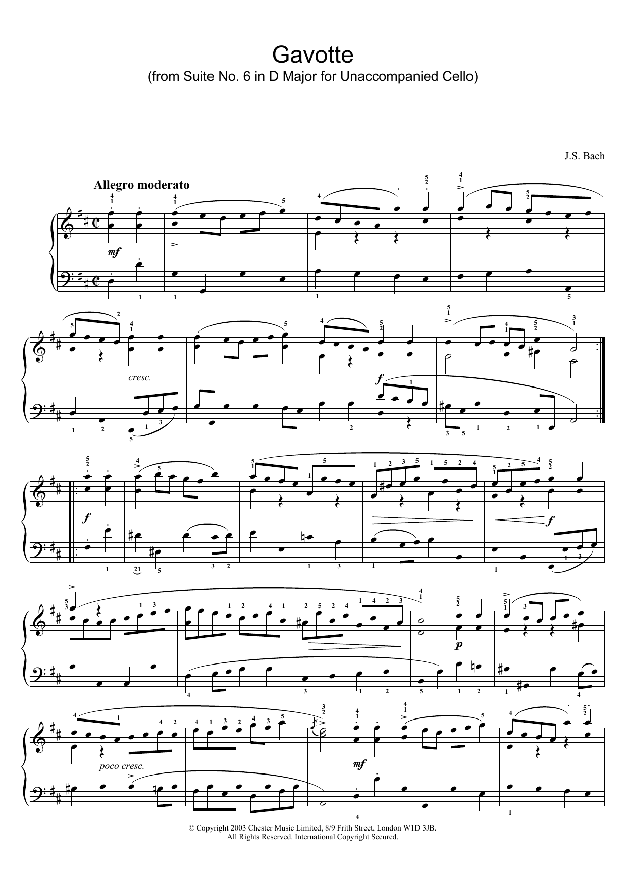 Gavotte (from Suite No. 6 in D Major for Unaccompanied Cello) sheet music